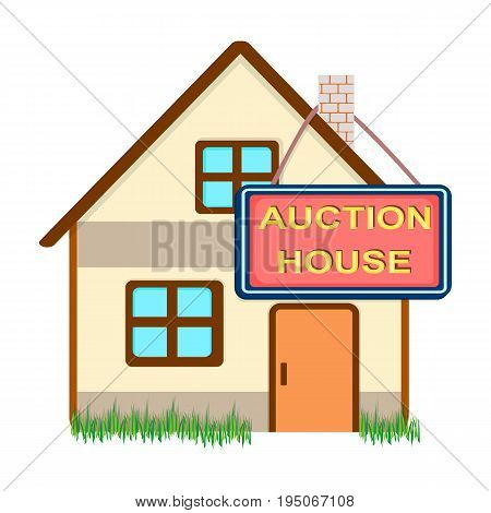 Auction house for sale. E-commerce single icon in cartoon style vector symbol stock illustration .