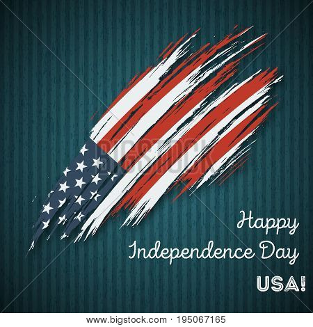 Usa Independence Day Patriotic Design. Expressive Brush Stroke In National Flag Colors On Dark Strip