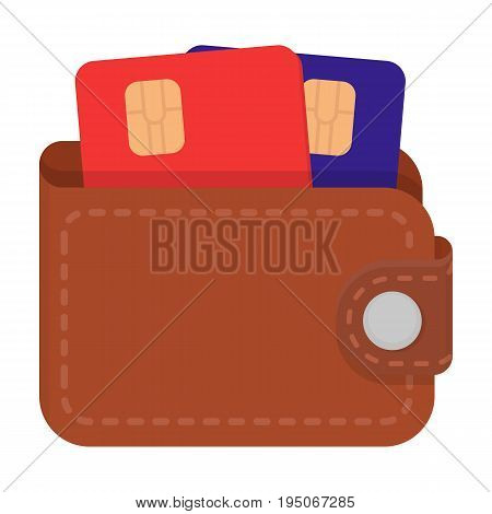 Leather wallet with credit cards. E-commerce single icon in cartoon style vector symbol stock illustration .