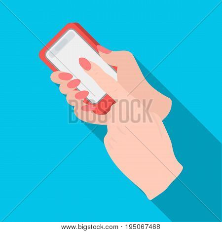 Mobile phone in hand. E-commerce single icon in flat style vector symbol stock illustration .
