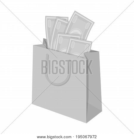 Bag with money. E-commerce single icon in monochrome style vector symbol stock illustration .