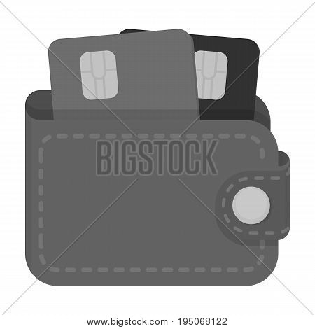 Leather wallet with credit cards. E-commerce single icon in monochrome style vector symbol stock illustration .