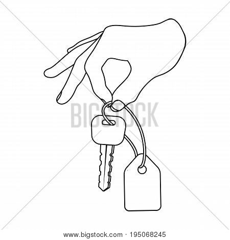 Key with a key ring in his hand. E-commerce single icon in outline style vector symbol stock illustration .