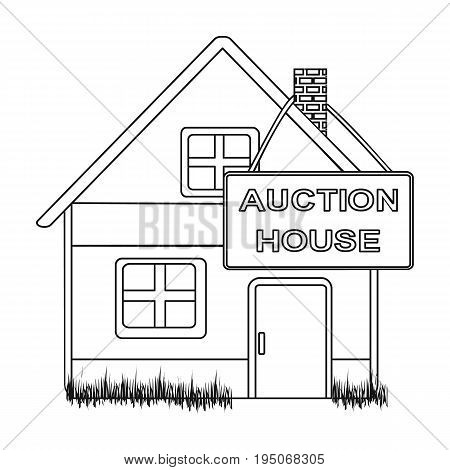 Auction house for sale. E-commerce single icon in outline style vector symbol stock illustration .