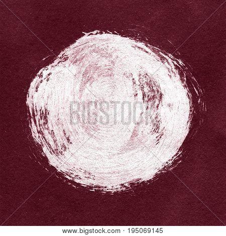 White Textured Acrylic Circle On Burgundy Background.