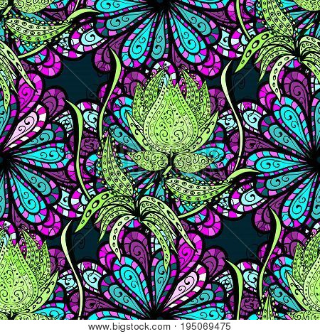 Seamless exotic pattern with many blue and pink tropical flowers. Blooming jungle. Motley vector illustration.