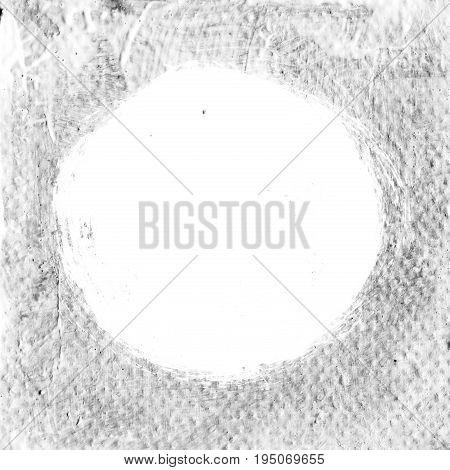 White Textured Acrylic Circle On Gray Background.