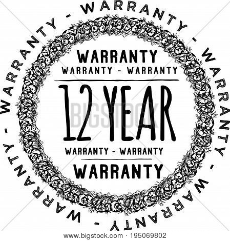 12 year warranty icon vintage rubber stamp guarantee