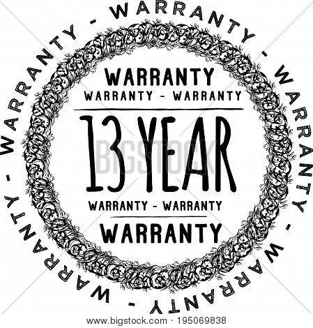 13 year warranty icon vintage rubber stamp guarantee