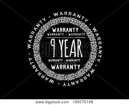 9 year warranty icon vintage rubber stamp guarantee