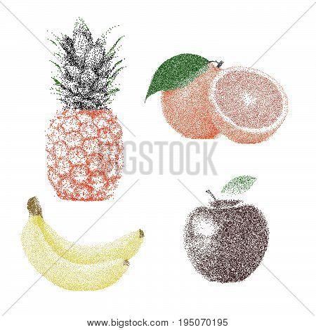 Tropical Nature Fresh Colorful Stippling Fruit Isolated Vector Pineapple Orange Banana Apple