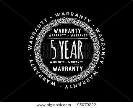 5 year warranty icon vintage rubber stamp guarantee