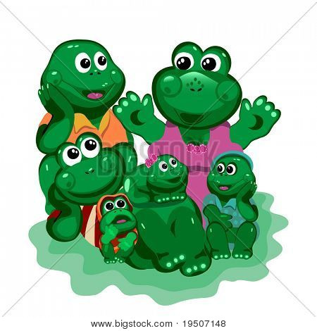 Frogs. Frog tells his mom a happy family and the young at the white background  JPG (See Vector  Also In My Portfolio) poster