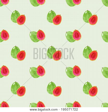 Seamless Background Image Colorful Watercolor Texture Tropical Fruit Guava
