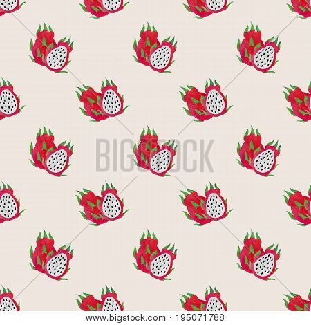 Seamless Background Image Colorful Watercolor Texture Tropical Fruit Dragon Fruit Pitaya