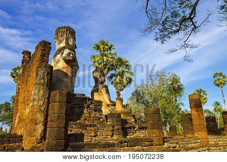 Old statue buddha at Wat Phra Si Ratanamahathat in Sisatchanalai Historical Park Sukhothai province Thailand
