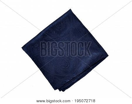 A navy pocket hanky folded into a square