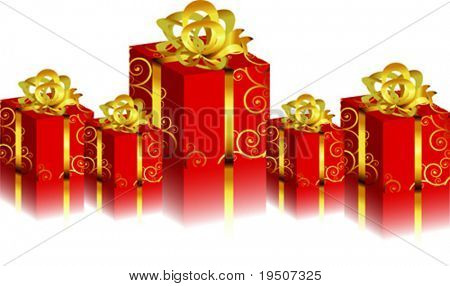 Holidays elements with reflection red Gift boxs. Festive background for your design. Varicoloured boxes with bow on a white background. VECTOR (See Jpeg Also In My Portfolio)