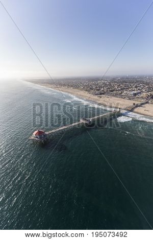 Aerial view of Huntington Beach Pier in Southern California.