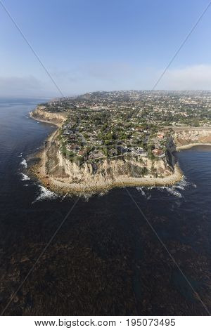 Aerial view of kelp filled pacific water at the edge of Palos Verdes and Abalone Cove in Los Angeles County, California.