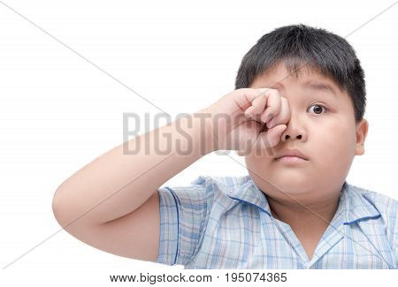 Obese Boy Itchy His Eyes Because Dust In Eye