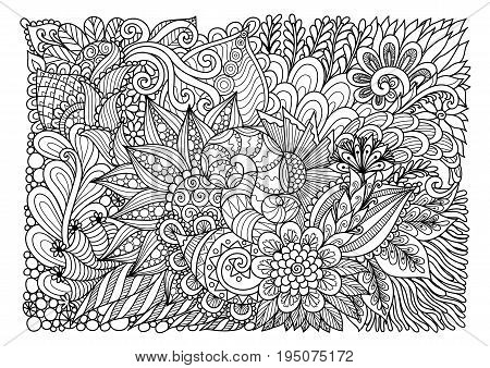 Line art design of floral garden for background and adult coloring book page. Vector illustration