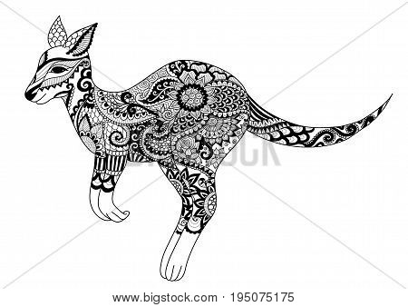 Line art design of jumping kangaroo for t shirt design and adult coloring book page. Vector illustration.