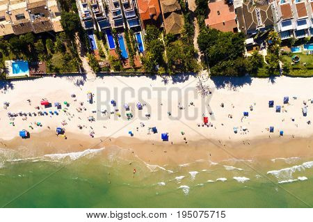 Top View of Juquehy Beach in Sao Paulo, Brazil