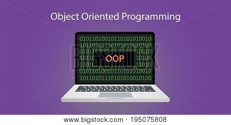 oop object oriented programming concept illustration with laptop or notebook and programming code with binary sign 0 and 1 vector