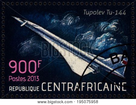 Moscow Russia - July 12 2017: A stamp printed in Central African Republic shows supersonic passenger airliner Tupolev Tu-144 series