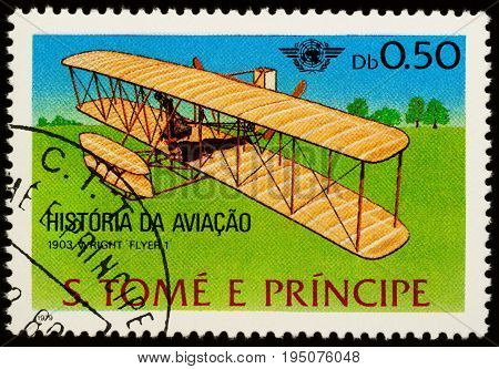 Moscow Russia - July 10 2017: A stamp printed in Sao Tome and Principe shows airplane brothers Wright (1903) series