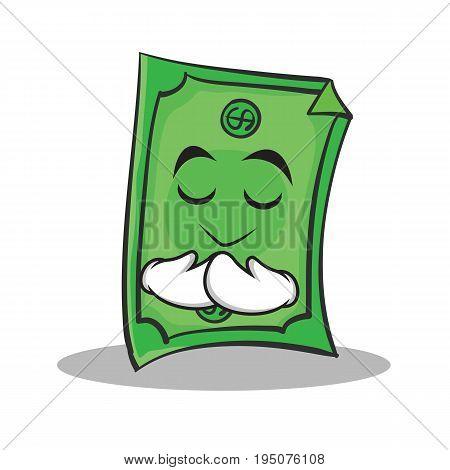 Praying face Dollar character cartoon style vector illustration