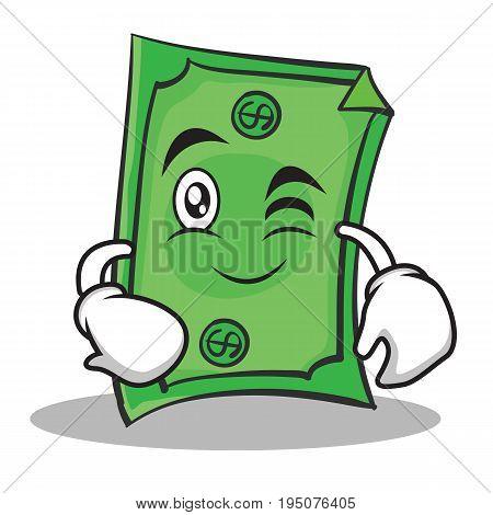 Wink face Dollar character cartoon style vector illustration