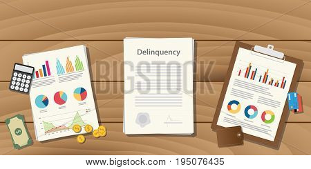 delinquency illustration concept with paperwork with graph and chart and money calculator on top of the table vector