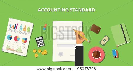 accounting standard illustration with business man signing a paper work on clipboard on wooden table with graph chart money wallet vector