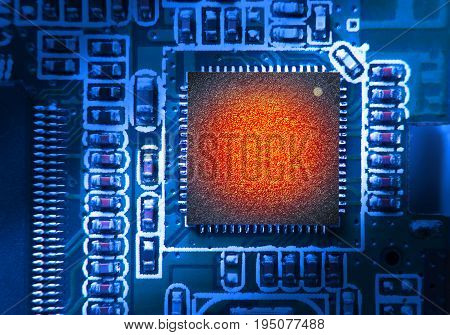 High thermal of Chipset on electronic circuit board. Chipset with blank surface for writing texts or phrase as needed.