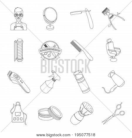 Male barber, symbol, clipper and other equipment for hairdressing.Barbershop set collection icons in line style vector symbol stock illustration .