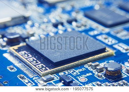 CPU Processing unit on electronic circuit board. electronics component installed in motherboard. Chip set with blank surface for writing texts or phrase as needed. electronics part concept.
