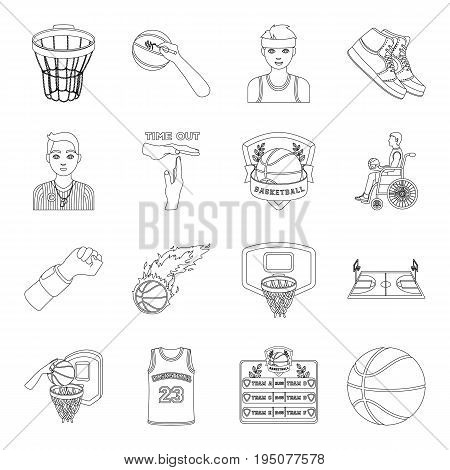 Ball, game, sport, fitness and other icons of basketball. Basketball set collection icons in line style vector symbol stock illustration.