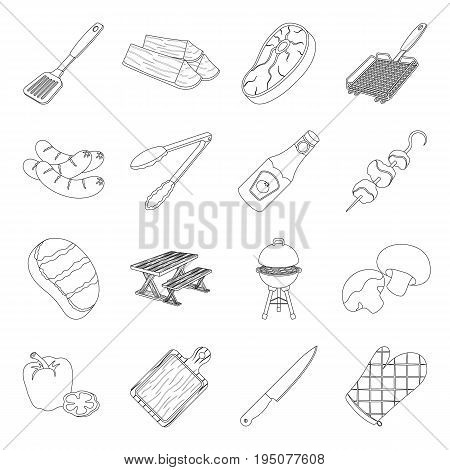 Meat, steak, firewood, grill, table and other accessories for barbecue.BBQ set collection icons in line style vector symbol stock illustration .