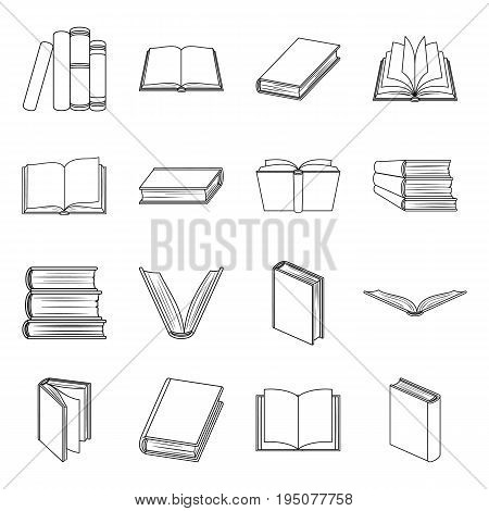 Books set icons in line design. Big collection of books vector symbol stock illustration