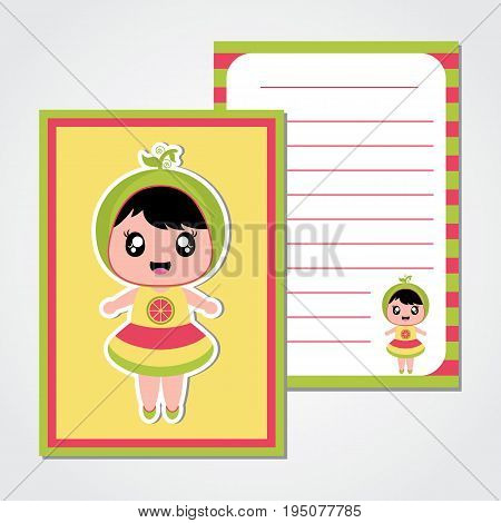 Summer paper note with cute watermelon girl vector cartoon for summer paper, scrap book and postcard