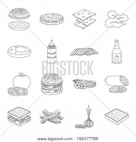 Rolls, cutlets, cheese, ketchup, salad, and other elements. Burgers and ingredients set collection icons in line style vector symbol stock illustration .