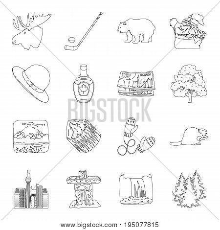 Wild animal, deer, horns and other Canada elements. Canada set collection icons in line style vector symbol stock illustration.