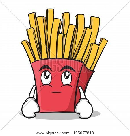 Eye roll french fries cartoon character vector illustration