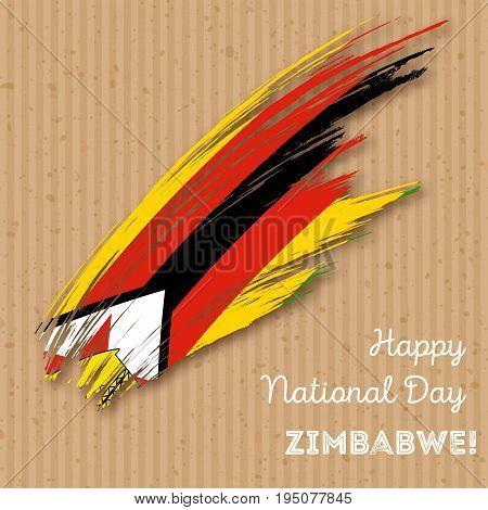Zimbabwe Independence Day Patriotic Design. Expressive Brush Stroke In National Flag Colors On Kraft