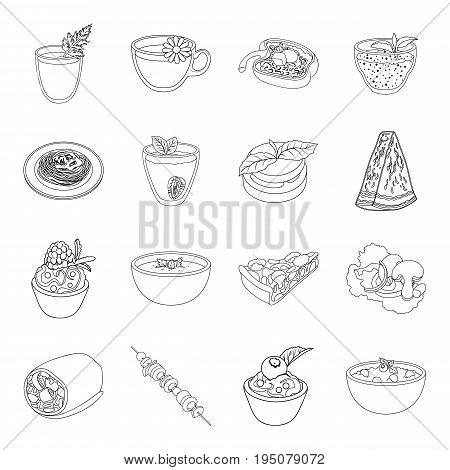 Juice, pizza, berries are vegetarian dishes.Vegetarian Dishes set collection icons in line style vector symbol stock illustration .