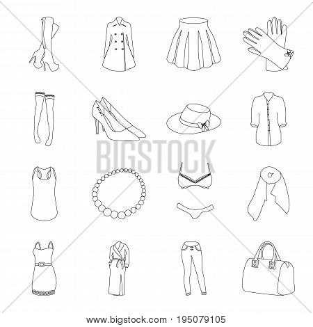 Dress, bra, shoes, women's clothing. Women's clothing set collection icons in line style vector symbol stock illustration .