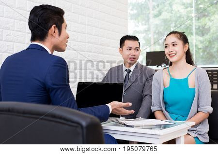 Asian people working at restuarant People interview businessman for working job and sign contact Portrait business concept 20-30 year old.