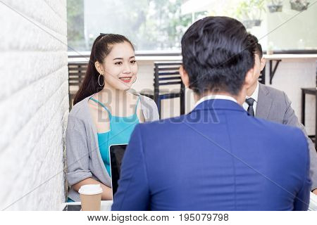 Asian women working at restuarant Woman interview businessman for working job Portrait business concept 20-30 year old.